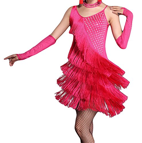 [Straip Women's Sequins Fringed Latin Dance Party Dress Costume, S, Pink] (Chacha Dance Costume)