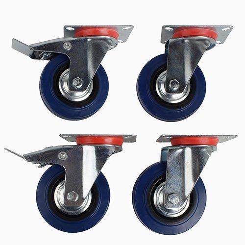 SPEED-4-Stck-100mm-Lenkrollen-und-Lenkrollen-mit-Bremse-Transportrollen-Schwerlastrollen-Blau-Elastic-Gummi-Lenkrollen-Tragfhigkeit-70-kg-pro-Rolle-BlauSilber-Stahlblech-Verzink