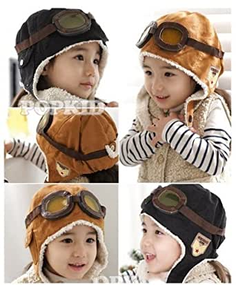 Wool Baby Toddler Pilot Style Cap with Ear Flaps (Tan)