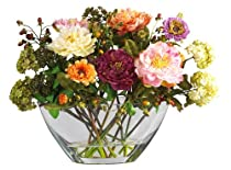 Big Sale Nearly Natural 4668 Peony with Glass Vase Silk Flower Arrangement, Mixed