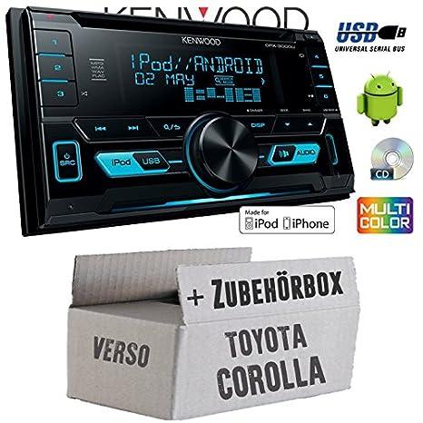 Toyota Corolla Verso silber - Kenwood DPX-3000U - 2DIN USB CD MP3 Autoradio - Einbauset