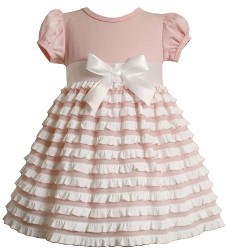 Bonnie Baby Knit Dress With Ruffles On Skirt, Pink, 18 Months