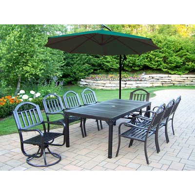 Oakland Living Rochester 10-Piece 80 By 40-Inch Dining Set, Includes 2 Swivel Chairs, 6 Arm Chairs And 10-Feet Cantilever Green Umbrella