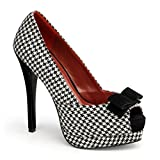 Pin Up Couture - Bella librarian Houndstooth Peep Toe Heels UK 2