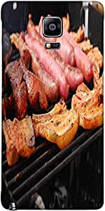 Snoogg Tasty Meal With Fresh Meat On Grill Designer Protective Back Case Cove...