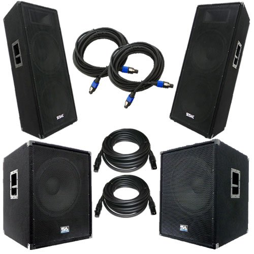 """Seismic Audio - Aftershockpkg8 - Pair Of Powered 18"""" Subwoofers, Pair Of Dual 15"""" Pa Speakers, With Two Speaker And Two Microphone Cables - Pa/Dj Package"""