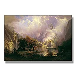 Albert Bierstadt Rocky Mountain Landscape Original Landscape Oil Painting Reproduction on Gallery Wrapped Canvas 30X20 inch