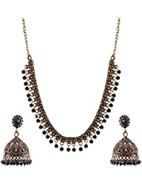 Ganapathy Gems Black Metal Strand Necklace Set For Women (GPJC23)