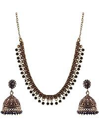 Ganapathy Gems Black Metal Strand Necklace Set For Women (GPJC23)