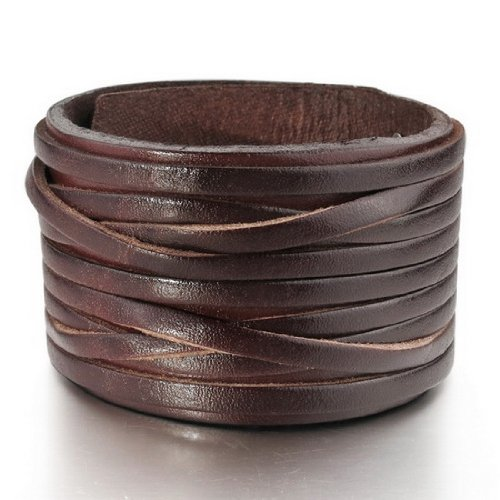 JBlue Jewelry Men's Large Alloy Leather Bracelet