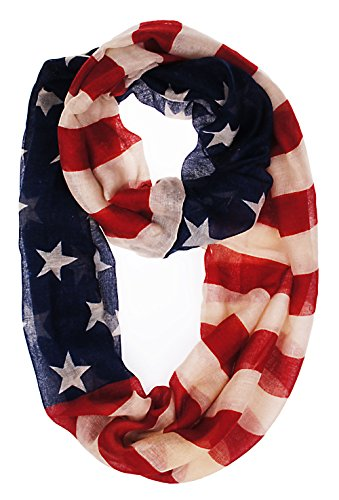 Vivian & Vincent® Soft Light Weight USA Flag Sheer Scarf Shawl (Big Infinity Scarf)