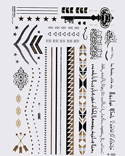 30 teiliges gold tattoo set gold flash tattoos arabische. Black Bedroom Furniture Sets. Home Design Ideas