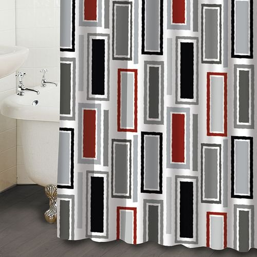 Contemporary Shower Curtains Rectangles Red Black White Fabric Shower Curtain