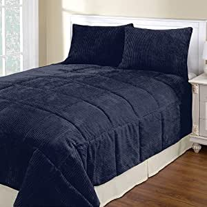 Navy blue corduroy full queen 3 piece for Kitchen queen set