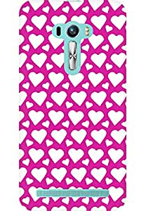 AMEZ designer printed 3d premium high quality back case cover for Asus Zenfone Selfie (dark pink white hearts)