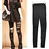 LYNCOL Sexy Hot Punk Gothic Ripped Torn Slashed Stretch Leggings Tights Black