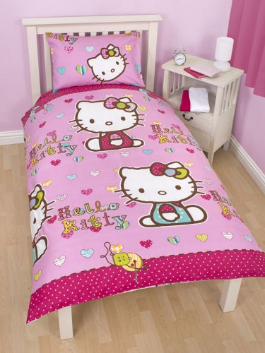 Completo Letto Singolo Lenzuola Copripiumino Hello Kitty Party Double Face Sanrio