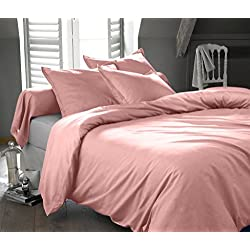 Ultra Soft & Exquisitely Smooth Genuine 100% Egyptian Cotton 300 Thread Count Duvet Sets, Lavish Sateen Solid, 3 Piece Full/Queen Size Set, Blush