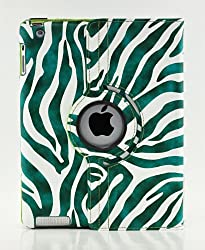 LiViTech(TM) Zebra Series 360 Rotating PU Leather Case Smart Cover for Apple iPad 4/3/2 (Green)