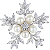 EleQueen Women's Silver-tone CZ Simulated Pearl Winter Snowflake Bridal Brooch Pin Ivory Color
