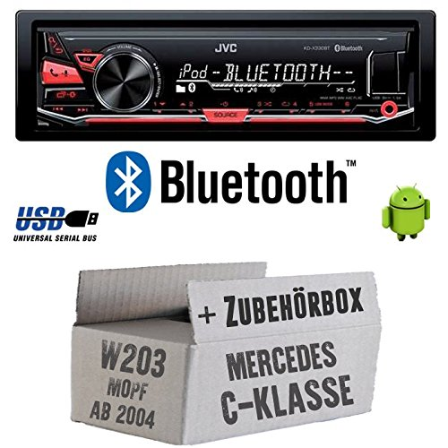 Mercedes C-Klasse W203 MoPf - JVC KD-X330BT - Bluetooth MP3 USB Autoradio - Einbauset