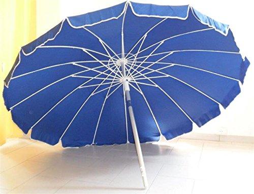 Ombrellone diam. 220 cm in alluminio palo 32mm, 16 strecche fibra vetro blu