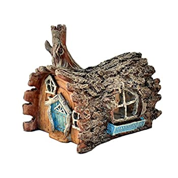Fiddlehead Fairy Garden Log Home with Swinging Door