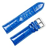 Crocodile Grain Watchband (Chrono) Blue 14mm Watch band - by deBeer