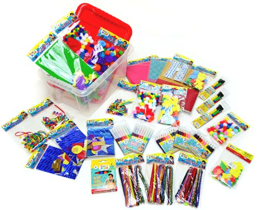 Mister Maker Crafty Treasure Trove - Bumper Craft Kit - lots and lots of Crafty Items within a Sturdy Plastic Container - Ideal for Rainy Days, School Holidays, Parties and Craft Activities, BRILLIANT Christmas Gift or Birthday Present.