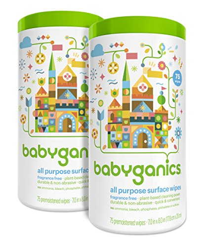 Babyganics All Purpose Surface Wipes, Fragrance Free, 150 Count (contains Two 75-count canisters) (Babyganics Multi Surface Cleaner compare prices)