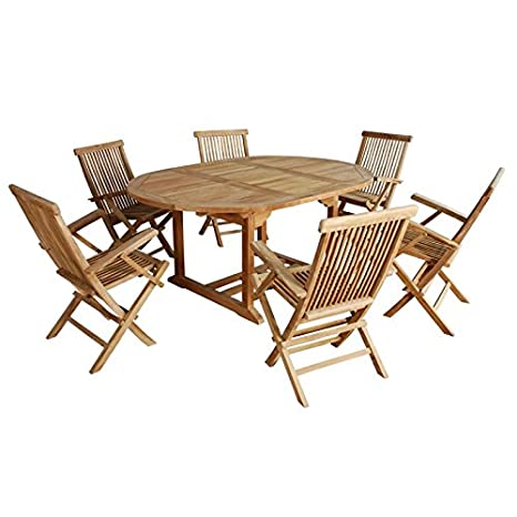 Salon de jardin en bois de TECK BRUT QUALITE PREMIUM 6/8 pers - Table ronde/ovale 120/170cm + 6 fauteuils