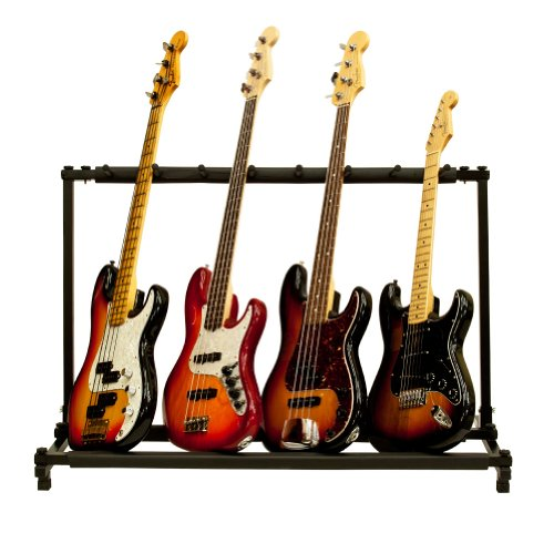 Solid Tech 7 Folding Guitar Rack Storage Organizer Stand Holder Electric Acoustic Bass Slot