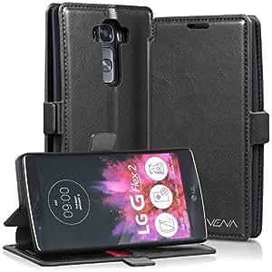 LG G Flex 2 Wallet Case - VENA [vFolio] Slim Vintage Genuine Leather Wallet Stand Case with Card Slots for LG G Flex 2 (Black / Red)