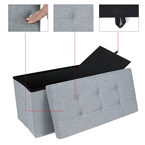 ottoman bench seat box folding storage space saving. Black Bedroom Furniture Sets. Home Design Ideas