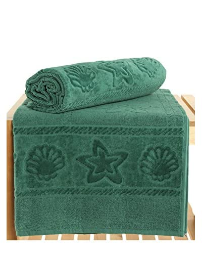 Maisonette Akdeniz 2-Piece Hand Towel Set, Dark Green