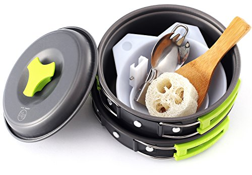 Camping Cookware - Cooking Set includes Pot, Pan, Utensils, Cups, and cleaning Loofah. Nonstick Equipment for Hiking, Backpacking, and Camp Cooking (Small - 10 Piece) (Personal Cooking System compare prices)