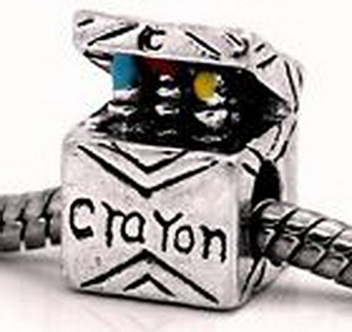 Beads Hut - Crayon Box Child Art Teacher Coloring Bead fits Silver European Charm Bracelets