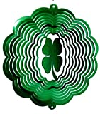 Stainless Steel Four Leaf Clover 12 Inch Wind Spinner Green