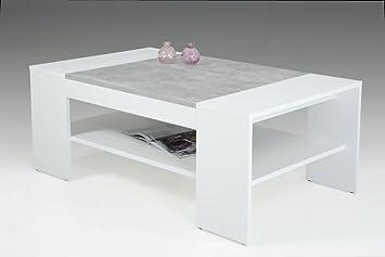 Couchtisch Wohnzimmertisch OLGA Weiß Betonoptik mit Ablage