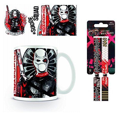 Set: Suicide Squad, Deadshot Armed Tazza Da Caffè Mug (9x8 cm) E 1 Suicide Squad, Braccialetto (10x2 cm)