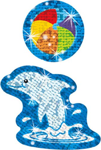 21 Pack TREND ENTERPRISES INC. SPARKLE STICKERS DYNAMIC DOLPHINS