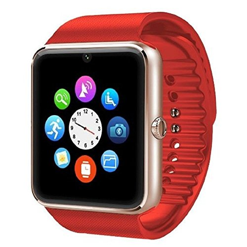 Padgene Fashion NFC Bluetooth GSM Smart Watch with Camera for Samsung S5 / Note 2 / 3 / 4, Nexus 6, Htc, Sony and Other Android Smartphones, Red