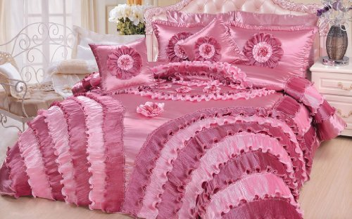 Dada Bedding 5-Piece Victorian Satin Comforter Set, King, Pink