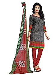 Beautiful Black & Red Coloured Printed Dress Material