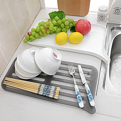 honla 2 tier small dish drainer with drain board plastic dish drying rack and dr ebay. Black Bedroom Furniture Sets. Home Design Ideas