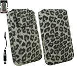 Emartbuy® Stylus Pack For Acer Liquid Z5 / Acer Liquid Z5 Duo Classic Range Faux Suede Leopard Grey Slide in Pouch Case Sleeve Holder ( Size 4XL ) With Magnetic Flap & Pull Tab Mechanism + Metallic Mini Black Stylus + LCD Screen Protector