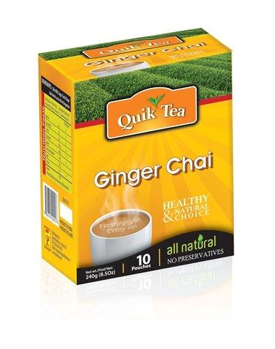 Case Of 10 Quik Tea Ginger Chai Latte Instant Tea 10 Pouches Per Box