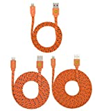 HIGH QUALITY 3ft/6ft/10ft Durable Braided Flat Noodle Lightning USB SYNC Cable Charger Cord for iPhone 6, 6 Plus, 5, 5C, 5S, iPad 4, iPad Mini, Ipad Air, Air 2, iPod Touch 5th Gen, Nano 7th, Gen Support Latest IOS, 8-pin to USB 3 in 1 PACK (ORANGE) by Qable Powerz(TM)
