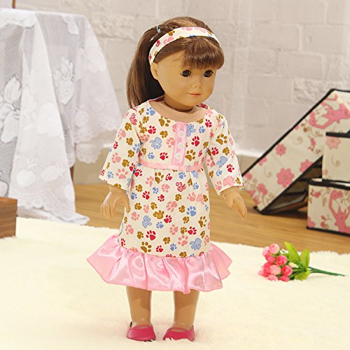 Teenitor(TM) Pink Dress With Footprints Pattern Fits 18 Inch Girl Dolls (Shipping By FBA) - 1