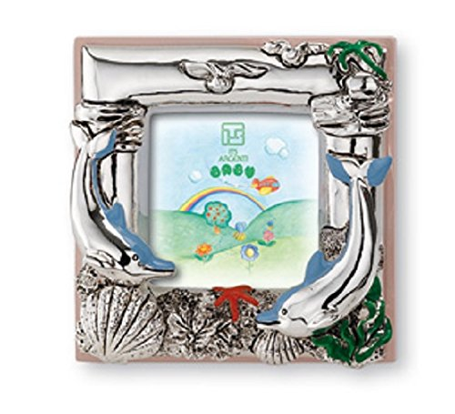 Silver Touch USA Sterling Silver Dolphins Picture Frame, Pink